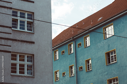 Blaues Haus Mit Rotem Dach Buy This Stock Photo And