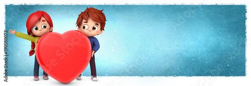 Photo Pareja de enamorados con un corazón y fondo azul