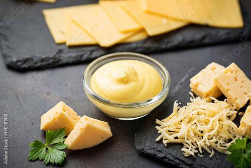 Fototapeta Homemade cheese sauce in glass bowl obraz