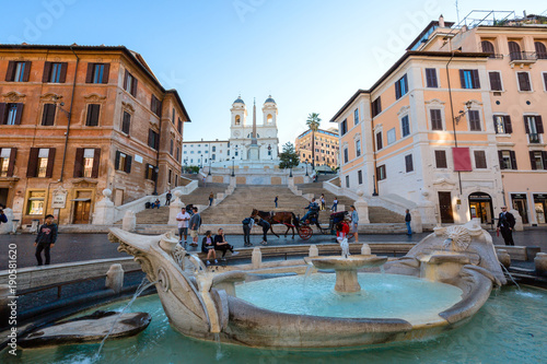Spanish steps with fountain Canvas Print