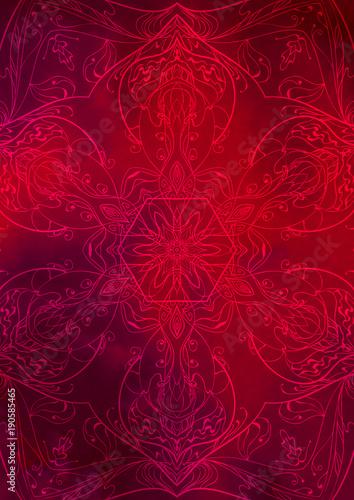 Fotografia  Sfondo texture orientale rosso con decorazione effetto mandala
