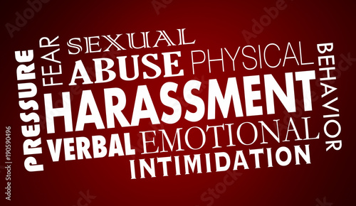 Photo Sexual Harassment Abuse Word Collage 3d Illustration
