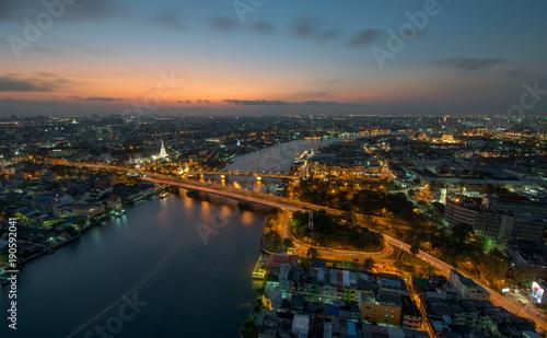 Garden Poster Barcelona Sunset Scene with Phra Phuttha Yodfa Bridge, Memorial Bridge and Chao Praya River in Bangkok