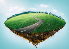 Fantasy Island Floating In The Air With City Skyline, Green Field, Mountain And Curvy Asphalt Highway .