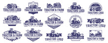 Collection Of Tractor And Farm Logo Template, Vector Set, Vector Pack