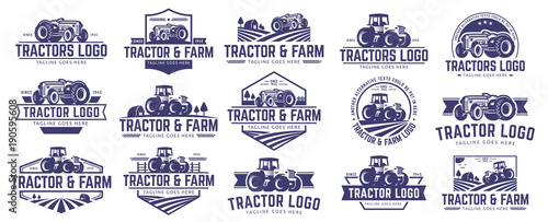 Fototapeta Collection of Tractor and farm logo template, vector set, vector pack obraz