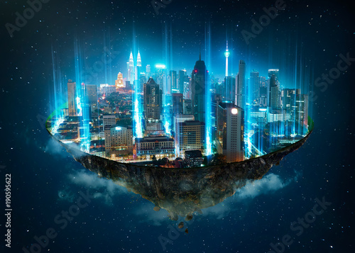 Deurstickers Kuala Lumpur Fantasy island floating in the air with network light came out from the ground , Smart city and wireless network connection concept .