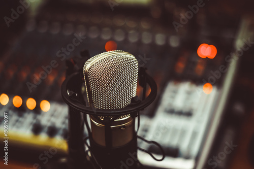 Fototapeta microphone and mixing console