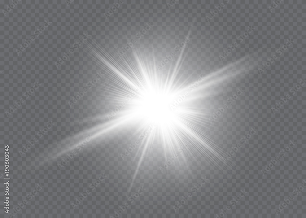 Fototapeta White glowing light explodes on a transparent background. Vector illustration of light decoration effect with ray. Bright Star. - obraz na płótnie
