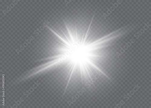 Fotomural White glowing light explodes on a transparent background