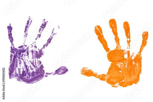 Fotografie, Obraz  Colorful baby's handprints isolated on white background