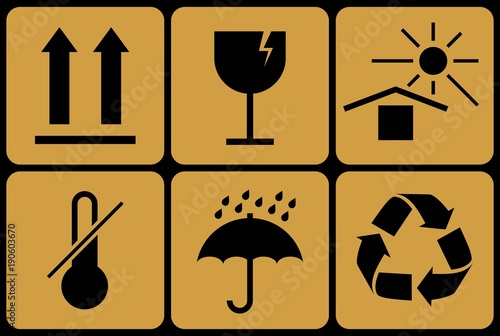 Collection of prohibitive packaging signs  - Buy this stock