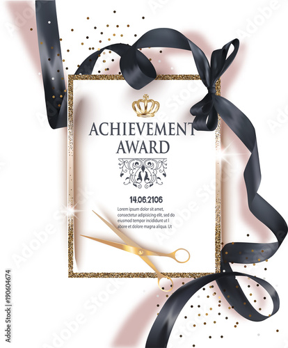 certificate of achievement sheet with black ribbon and gold vintage frame vector illustration