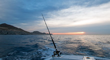 Sunrise View Of Fishing Rod On...