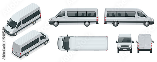 Fotografie, Obraz  Realistic set of Van template Isolated passenger minibus for corporate identity and advertising