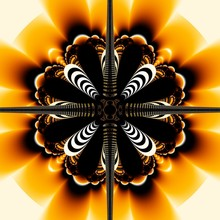 Digital Fractal 3D Design.Beautiful Ornament Of Yellow And Black Colors.Kaleidoscopic Striped Flower.Chandelier.