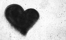 Black Heart On Concrete Wall
