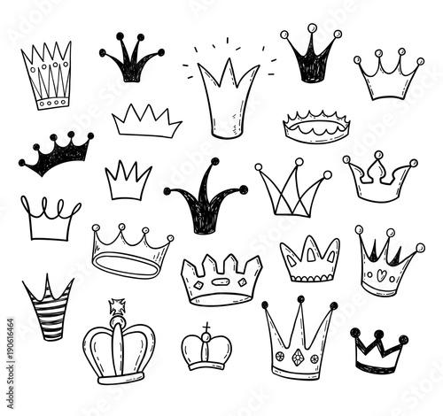 Fotografie, Tablou Hand drawn doodle princess crowns set