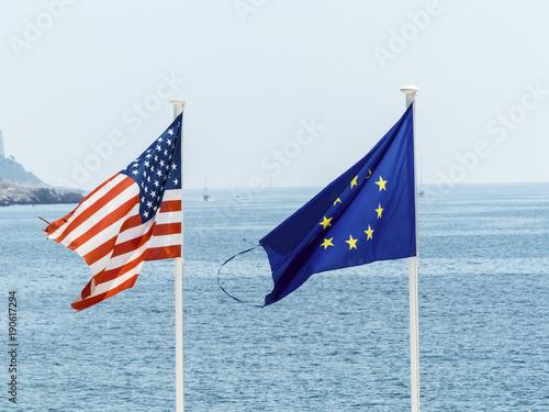 Fotografie, Obraz  flags of the eu and the usa