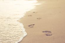 Close Up Of Human Footprints O...