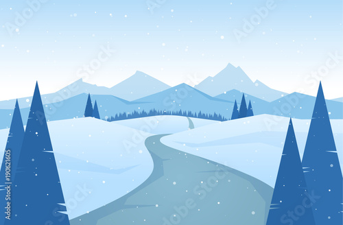 Foto op Canvas Lichtblauw Winter snowy Mountains landscape with road, pines and hills.
