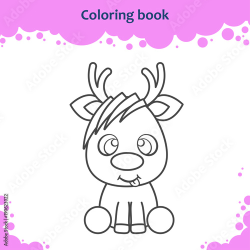 Coloring book page for kids. Color the cartoon little reindeer ...