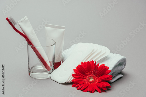 Fotografía  close up view of hygiene supplies, flower and towel isolated on grey