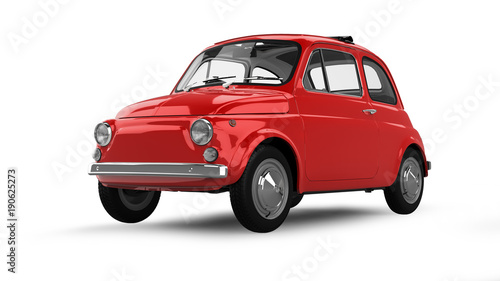Poster Old cars Vintage Car Isolated on White