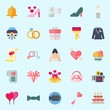 icons set about Wedding. with bow, wedding cake, camcorder, gift, love and bow tie