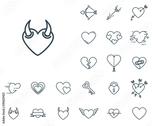 Devil Heart Icon In Set On The White Background Set Of Thin Linear
