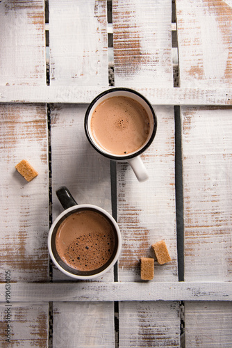 Spoed Foto op Canvas Chocolade Two cups of hot chocolate