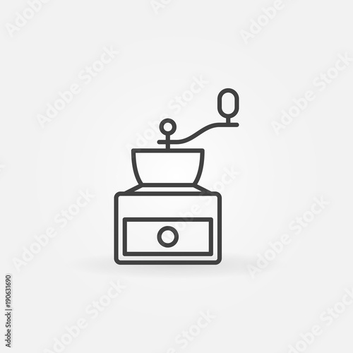 Photographie Coffee grinder concept vector icon in thin line style