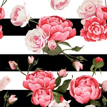 Peony And Roses Vector Seamles...