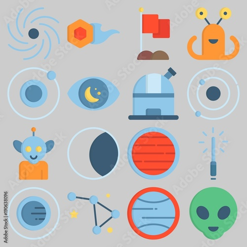 Photo  Icon set about Universe with keywords flag, moon, uran, observation, lightsaber