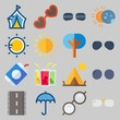 icon set about Beach And Cumping. with sun, tent and drink