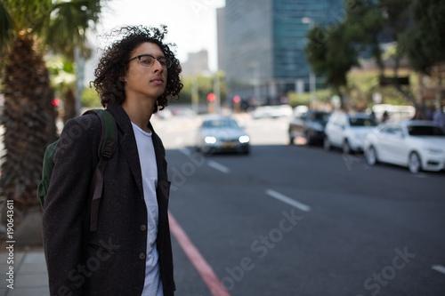 Man waiting at the city street