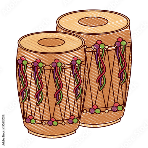 Fényképezés  pair musical instrument punjabi drum dhol indian traditional vector illustration
