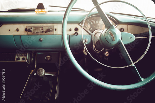 Keuken foto achterwand Vintage cars Classic car - vehicle interior of vintage car