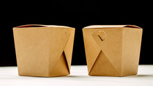 Two Closed WOK Paper Box. Asia...
