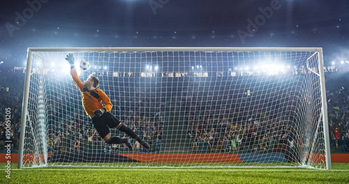 Photo  Soccer goalkeeper in action on the stadium