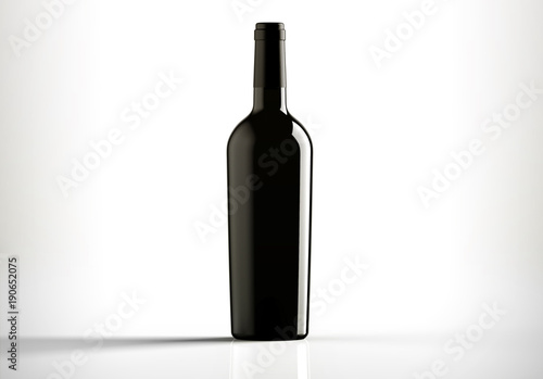Fotografia  Black bottle of red wine, bordolese conical, still life on a white background