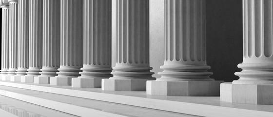 Marble pillars building detail. 3d illustration