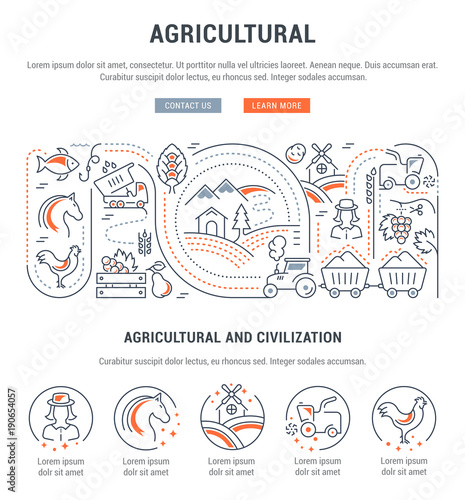Foto  Website Banner and Landing Page of Agricultural.