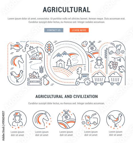 Fotografiet  Website Banner and Landing Page of Agricultural.