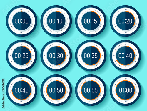 stopwatch icons set in flat style timer on blue background sport