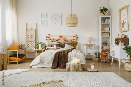 Spacious hygge bedroom interior