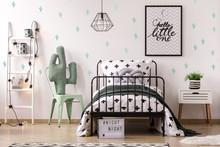 Kid's Bedroom Interior With Cactus