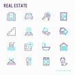 Rea estate thin line icons set: apartment house, bedroom, keys, elevator, swimming pool, bathroom, facilities. Modern vector illustration.
