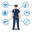Police officer with police equipment. Radio, baton, badge, gun, handcuffs, hat