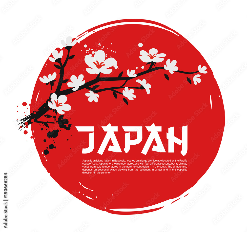 Sakura on red background
